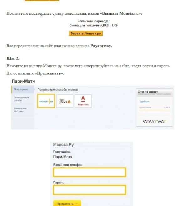 Пополнение через Монету.ру